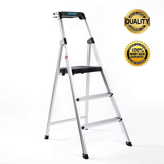Step Ladder, Ultra Lightweight and Sturdy 3 Step Ladders Aluminum 330 Lbs Capacity Fold up Step Stool with Platform for Home and Kitchen (Sliver)