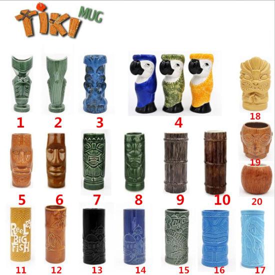 Wholesale Full Models Hawaii Ceramic Porcelain Cooktail Juice Tiki Mug