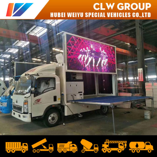 Sinotruk HOWO 4X2 Mobile LED Truck with Mobile Stage for Road Show