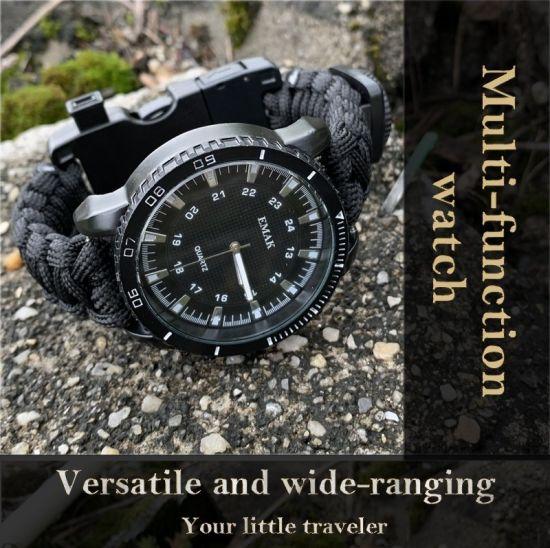 Emak Hot Sale Multifunctional Tactical Paracord Bracelet Survival Watch