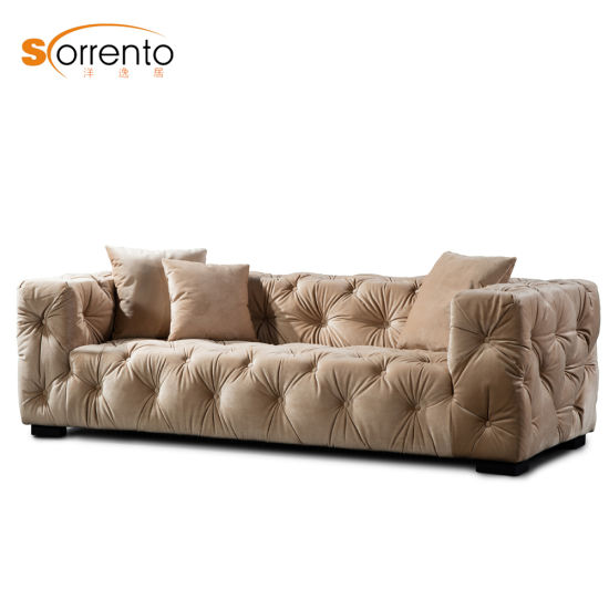 Luxury Multi Colors Fabric Sofa with Button Uphosteled