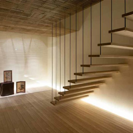 DIY Stainless Steel Wire/Glass Railing Solid Wood Tread Floating Stair