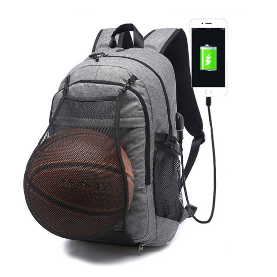 Sports School Bag Laptop Backpack with Basketball Net USB Connection pictures & photos