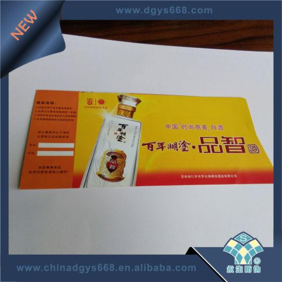 Custom Thermal Paper Fanfold Security Ticket with Hologram