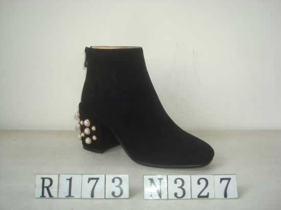 Rhinestone Heel Leather Boot for Lady
