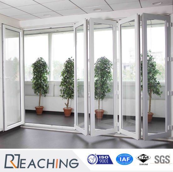 Double Glazing Exterior Interior Bi Folding 5 Panel Sliding Door