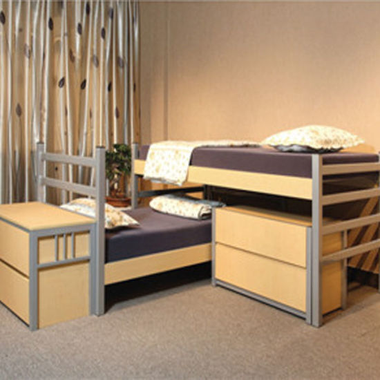 Bedroom Furniture Dormitory Steel Wood Bed With Study Table And Wardrobe