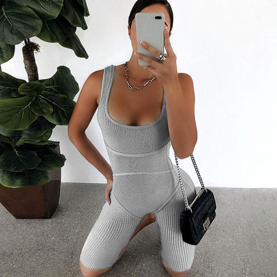 Women's Sexy Solid U-Neck Thick Strap Yoga Sports Wear Onesie Rompers