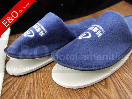 Semi-Finished EVA Sole Cotton Fabric Woven Disposable Hotel Slippers