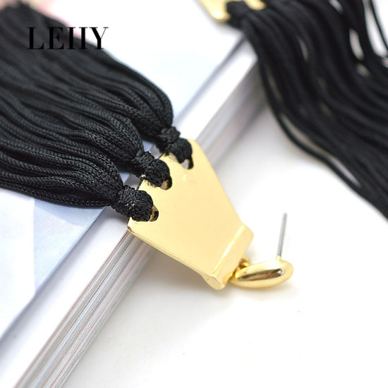 Hot Custom-Casting Drop Earrings Jewelry Black Thread-Tassel Earrings Design Lady pictures & photos