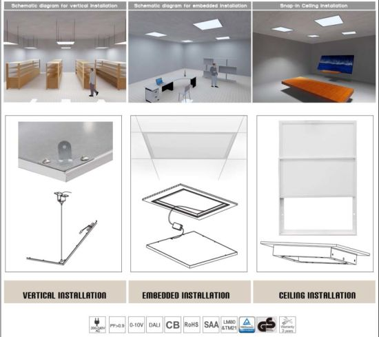 Ceiling/Recessed/Hanging Square 600*600mm SMD LED Panel Light Fixture with Ce RoHS ERP pictures & photos