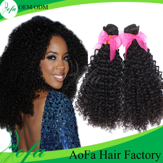 China 18 Afro Curly Virgin Human Hair Extension With Factory Price