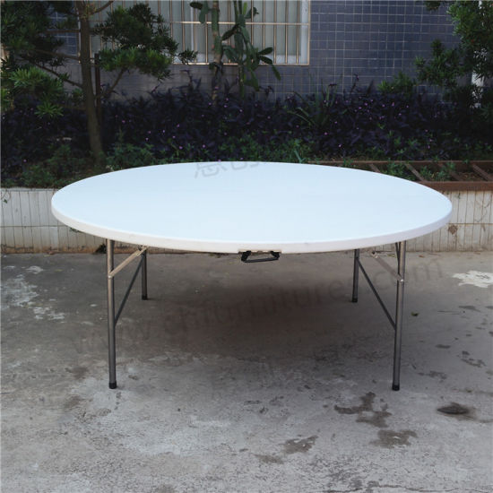 Outdoor Garden Furniture White Plastic Resin Round Folding Wedding Table Yc T61