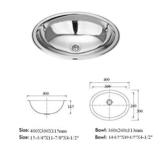 Oval Stainless Steel Bathroom Sink, Lavatory Basin Sink (T18)