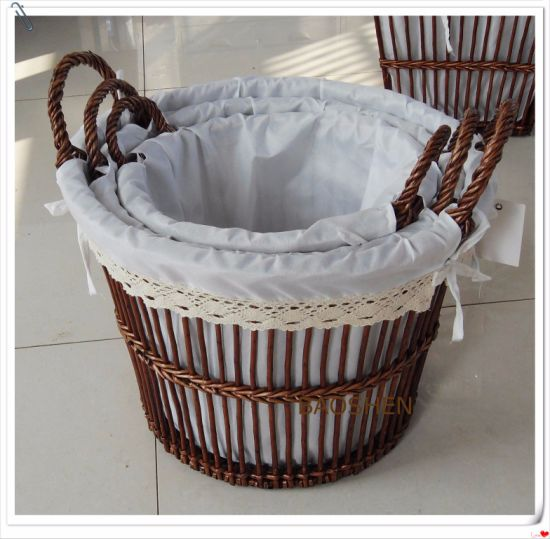 Picnic Wholesale Willow Food Wooden Flower Storage Basket pictures & photos