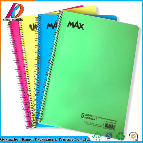 200 College Ruled Sheets PVC Hardover Spiral 5 Subject Notebook