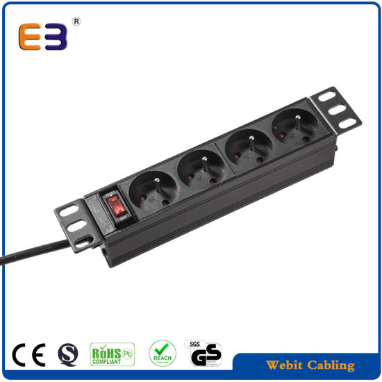 4-Way 1u Horizontal French PDU with on/off Switched