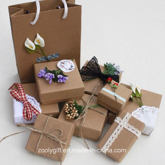 China Wholesale Diy Kraft Paper Jewelry Gift Packing Box With Decoration China Jewelry Box And Gift Box Price