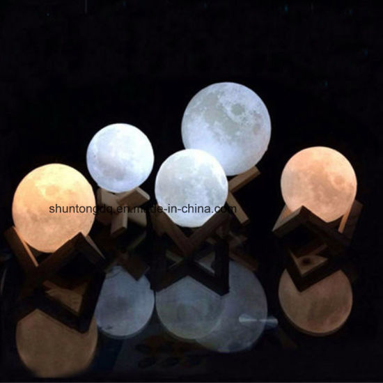 Rechargeable 3D Print Moon Lamp 2 Color Change Touch Switch Bedroom Bookcase Night Light Home Decor Creative Gift pictures & photos