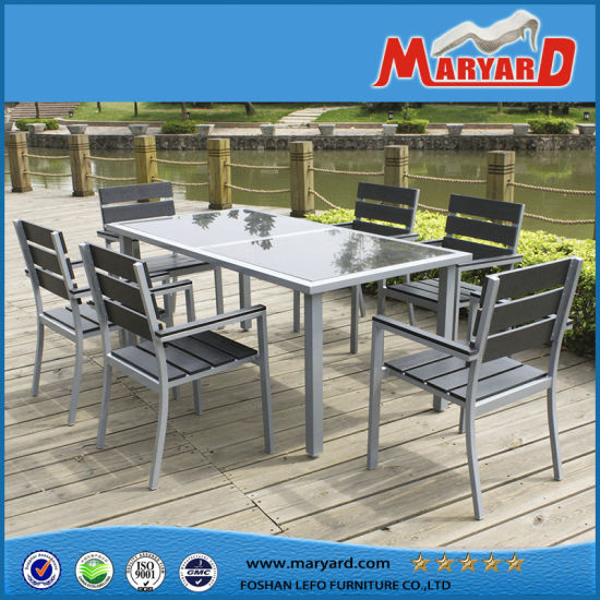 China Aluminum Polywood Patio Furniture 6 Person Dining Set China
