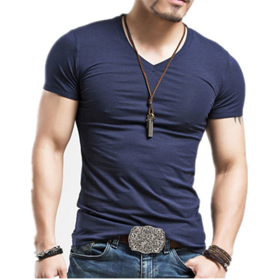 c38c17ba4575a Factory High Quality No Brand Cut and Sew V Collar Men′s Black Screen  Printing Custom Tee Wholesale Pima Cotton Tshirts