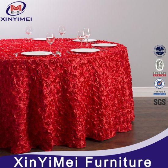Christmas Fancy Rosette Satin Table Cloth
