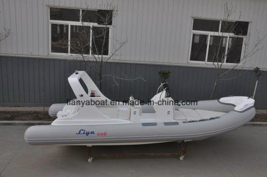 China Liya 6.6m Fiber Glass V Hull Inflatable Rib Boat Fishing Boat