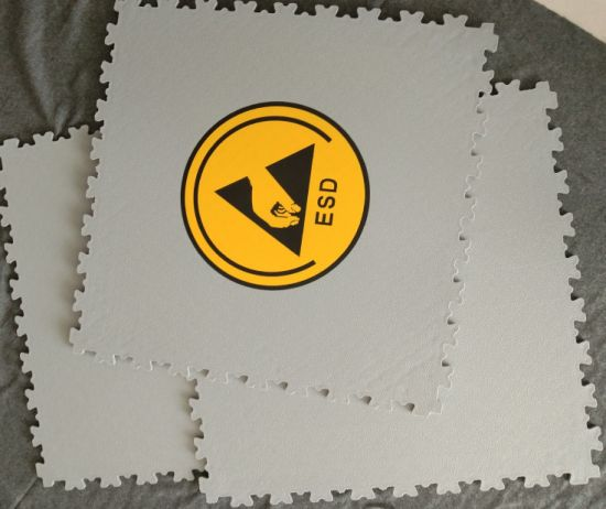 Interlocking ESD PVC Lab Flooring Tile, Antistatic Floor, ESD Floor Tile Plastic Vinyl Flooring for Hospital / School / Warehouse / Electronic Factory
