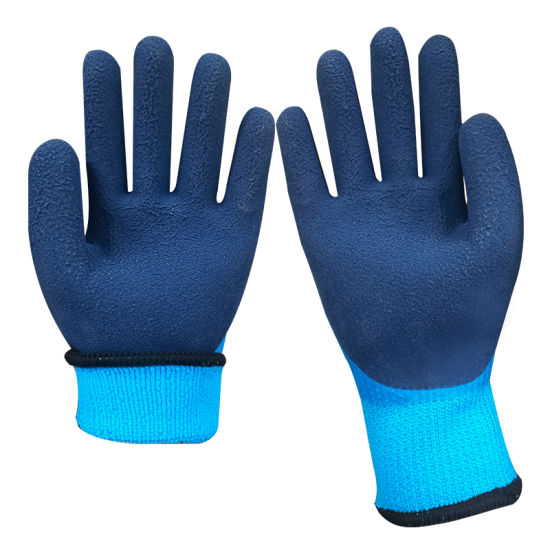 Free Sample Blue Waterproof Non-Slip Full Dipped Palm Double Latex Coated Work Safety Gloves