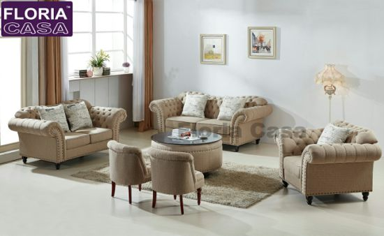 China Updated Chesterfiled Fabric Sofa With Beige Color Design