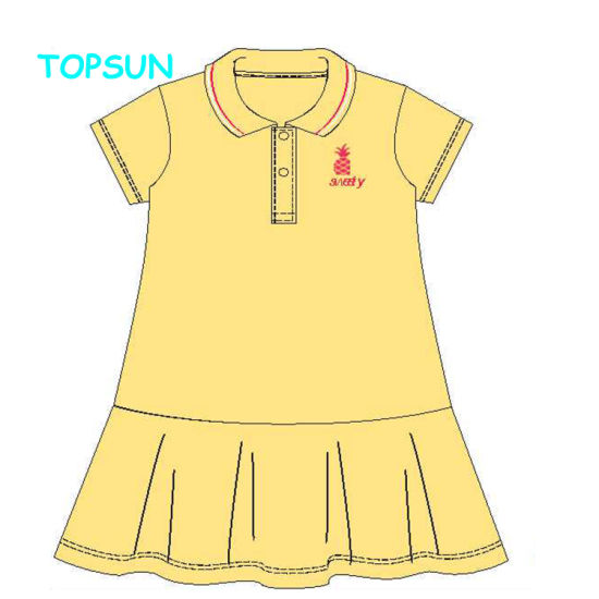 Autumn Solid Color Children Fall Clothing Girls Embroidered Cherry Dress New Designs Kids Long Sleeve Girl Polo Dresses