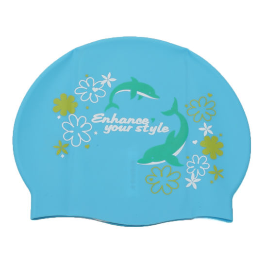 Soft Flexible Custom Printing Silicone Swim Cap for Children pictures & photos