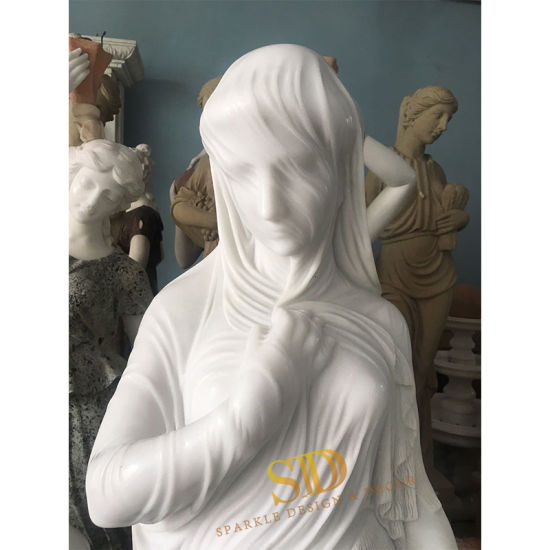 Artistic Stone Sculpture Pure White Marble Sculpture Veil for Palace/Castle