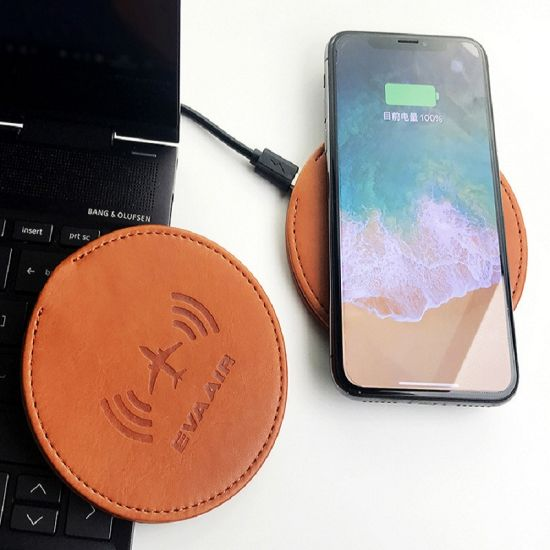 Wireless Phone Charger with Leather Case Smartphone Wireless Inductive Charger pictures & photos