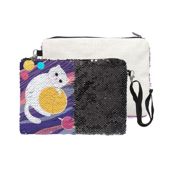 Custom Printed Sequin Zipper Cosmetic Bag Black Makeup Bag for Wholesale