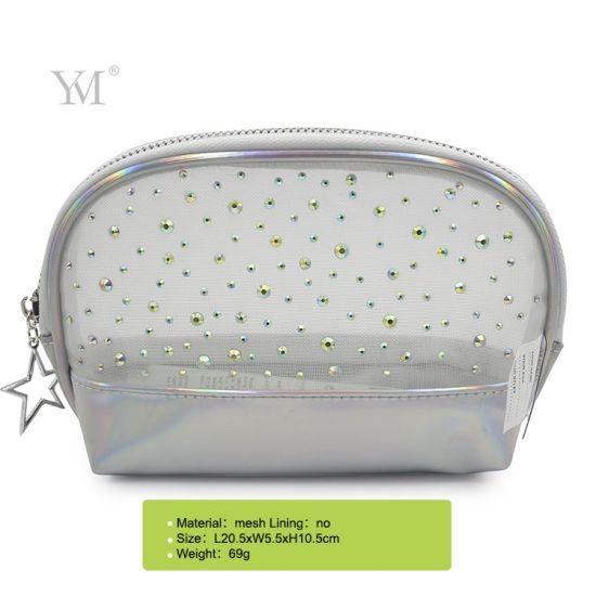 China Manufacture Mesh Makeup Cosmetic Bag Pouch PU Shell Shape Wholesale Make up Bag