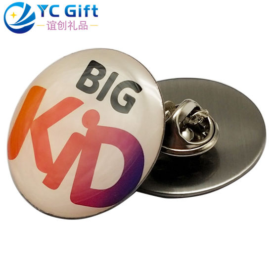 Factory Custom Metal Art Crafts Round Colorful Printing Text Logo Epoxy Lapel Pin Personalized Activity Promotion Souvenir Gift Button Badges for Eco-Friendly