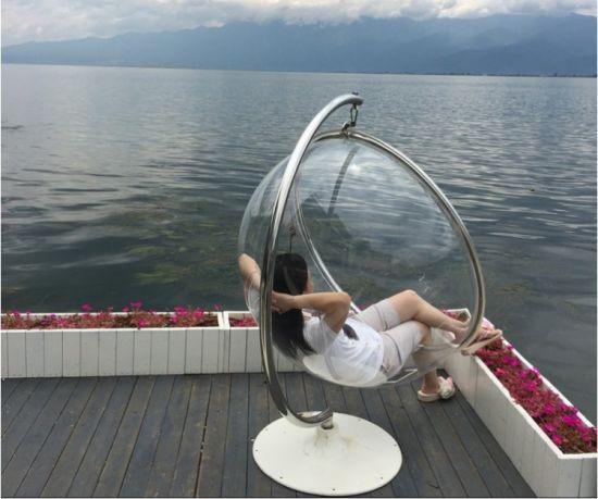 Acrylic Floor Standing Bubble Chair