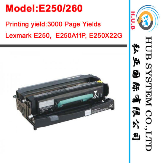 Black Toner Cartridge for Lexmark E250, E350, E352 /Drum Kit