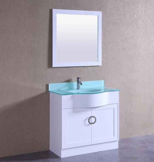 Tempered Glass Vanity Top Single Basin Bathroom Vanity T9229-36W pictures & photos