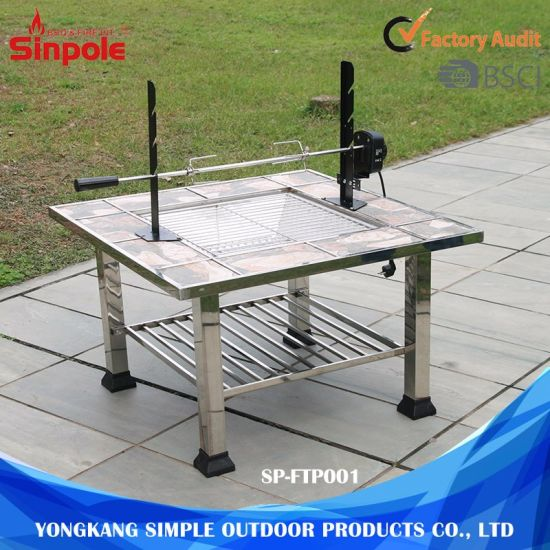 China Multifunctional Outdoor BBQ Grill Table Stainless Steel BBQ - Grill table fire pit all in one