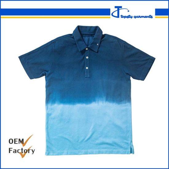Custom Men's Cotton Short Sleeve DIP Dye Polo Shirts, Fashion Round Neck DIP Dye Polo T Shirts