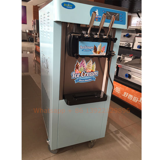 Prince Factory Hot Sale Color3 Flavors Soft Ice Cream Maker with Cone Dispenser pictures & photos