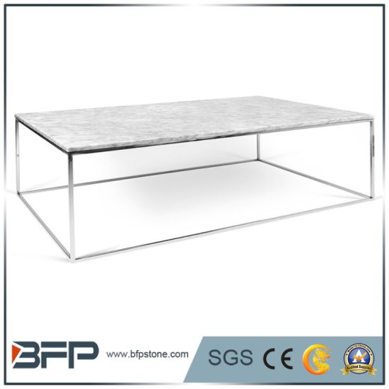 Fancy Square Marble Top Coffee Table For Dining Room