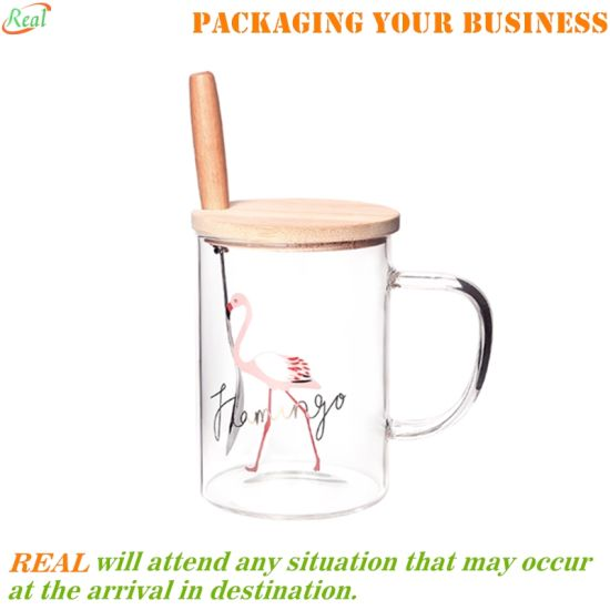 Printed Glass Mug with Handle, Cute Animal Borosilicate Glass Cups Drinking Tea, Latte, Espresso, Juice, Milk, 400ml