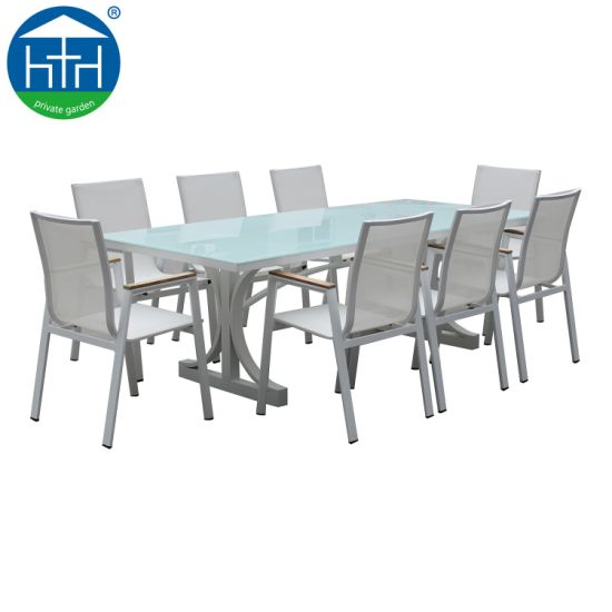 New Design Outdoor Dining Set Garden Furniture with Aluminum Frame Rattan Wicker Table and Chair