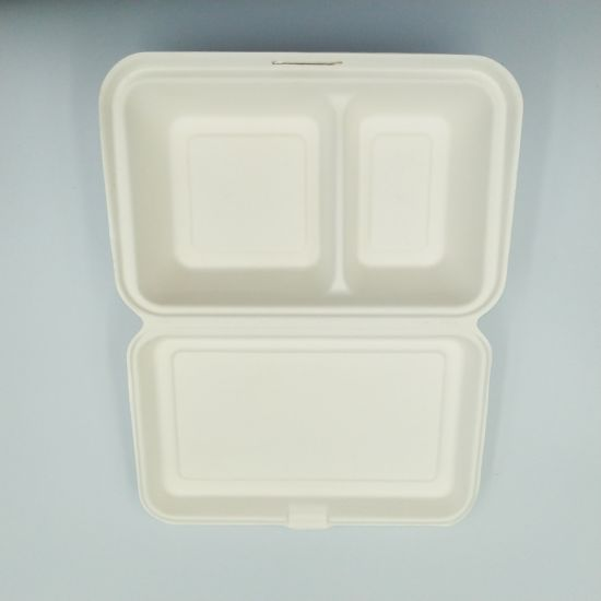 Biodegradable Compostable Bagasse Rectangle Lunch Box pictures & photos