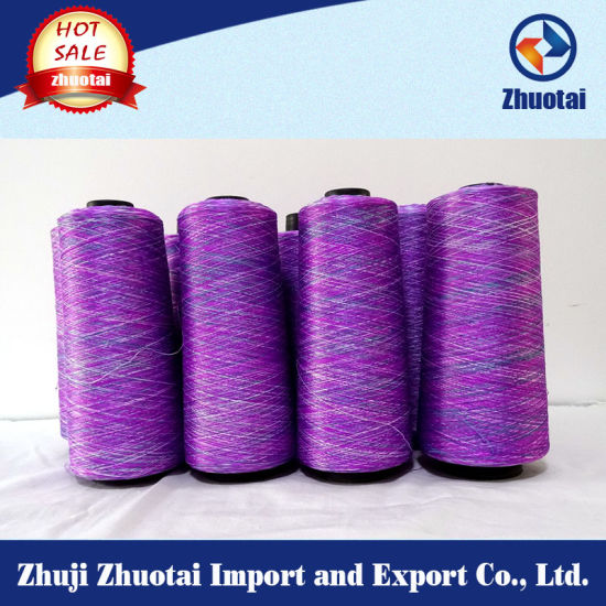 Space Dyed Knitted Tape Polyester Yarn pictures & photos