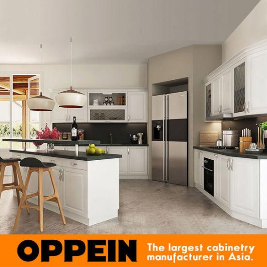 China Oppein Europe Style White Kitchen Cabinet Small Kitchen Furniture Op16 Pvc07 China Kitchen Cabinets Kitchen Furniture