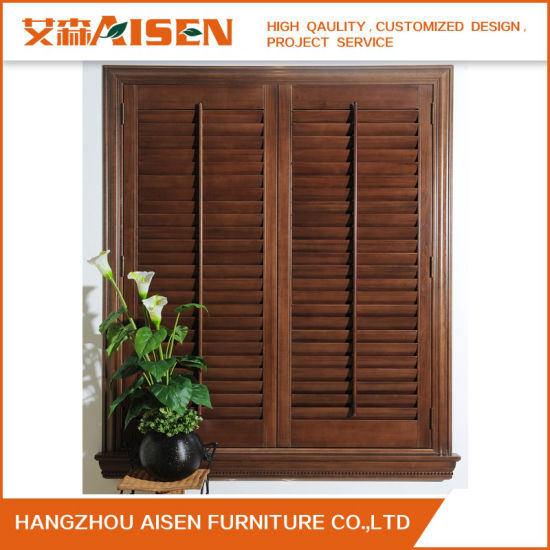 2018 Retro Style Wooden Stained Color Window Plantation Shutter pictures & photos